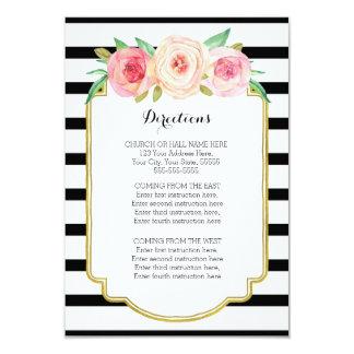 Rayures noires florales roses épousant l'insertion carton d'invitation 8,89 cm x 12,70 cm