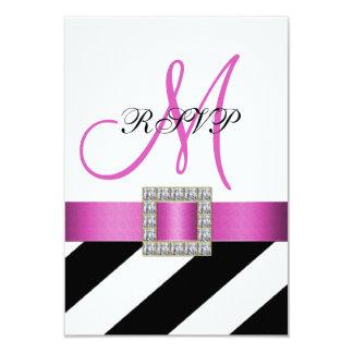 Rayures noires, ruban rose, RSVP l'épousant Carton D'invitation 8,89 Cm X 12,70 Cm