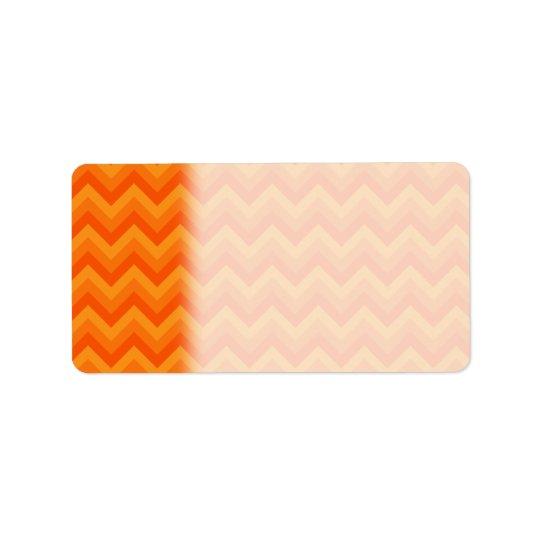 Rayures oranges de zigzag étiquette d'adresse