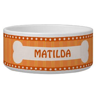 Rayures oranges mignonnes os et grande cuvette de bol pour chien