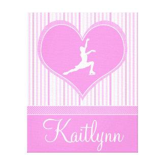 Rayures/patineur artistique roses et blancs de toile tendue