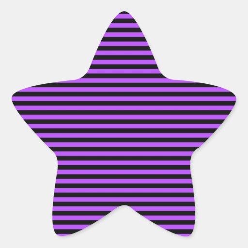 Rayures pourpres et noires mignonnes autocollant en étoile