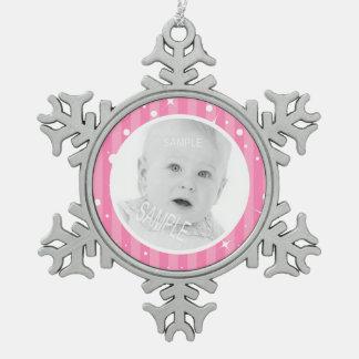 Rayures roses avec votre photo pour des filles ornement flocon de neige pewter