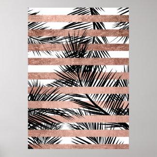 Rayures roses chics d'or de palmiers tropicaux posters