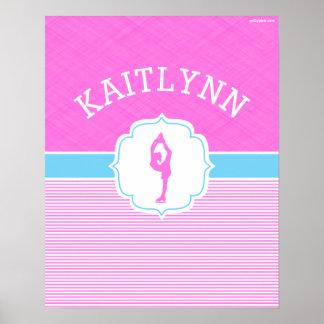 Rayures roses de patineur artistique avec des poster