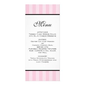 Rayures roses épousant le menu doubles cartes