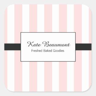Rayures roses et blanches élégantes mignonnes sticker carré