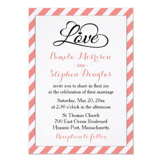Rayures roses et blanches épousant - coeurs noirs carton d'invitation  12,7 cm x 17,78 cm