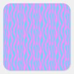 Rayures roses et bleues de zèbre stickers carrés
