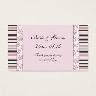 Rayures roses et étiquettes florales de faveur de cartes de visite
