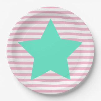 Rayures roses et grande étoile turquoise - plaques assiettes en papier