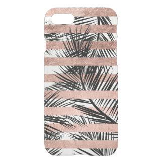 Rayures roses modernes d'or de palmiers tropicaux coque iPhone 7