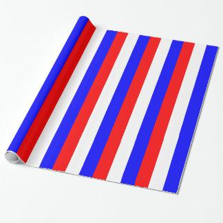 Rayures rouges, blanches, bleues papiers cadeaux