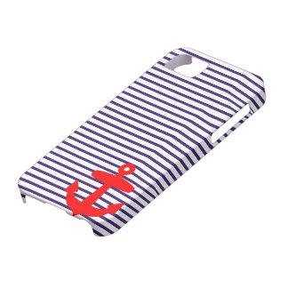 Rayures rouges de marin de bleu marine d ancre et étuis iPhone 5