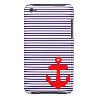 Rayures rouges de marin de bleu marine d'ancre et coque iPod touch