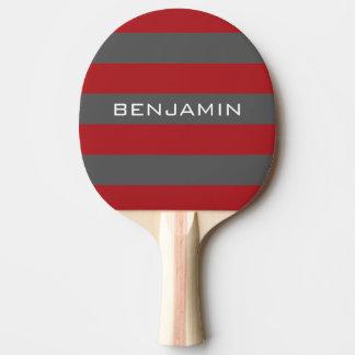 Rayures rouges et grises de rugby avec le nom fait raquette tennis de table