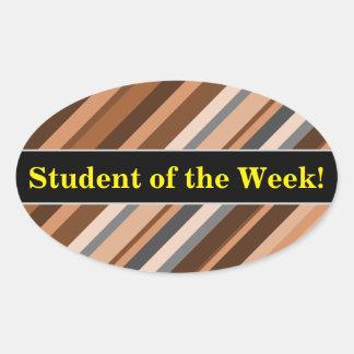 Rayures rustiques et terreuses de Brown, beiges et Sticker Ovale
