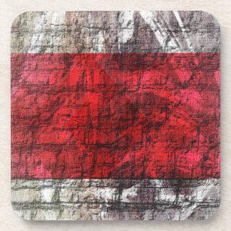 Rayures texturisées rouges et grises dessous-de-verre