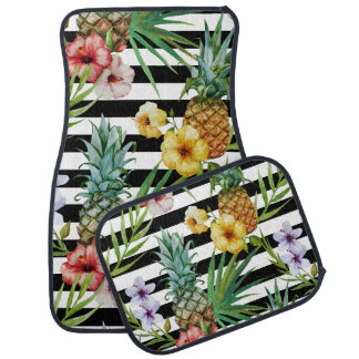 Rayures tropicales de noir de fleur d'ananas tapis de sol