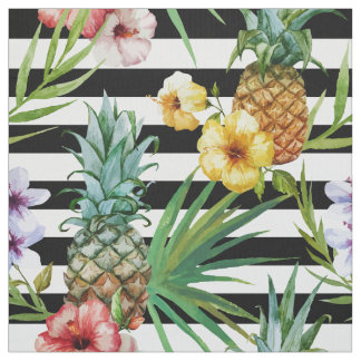 Rayures tropicales de noir de fleur d'ananas tissu