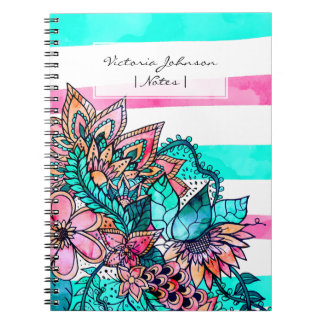 Rayures turquoises roses girly d'aquarelle florale carnet