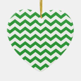 rayures vertes de chevron ornement cœur en céramique