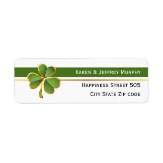 Rayures vertes et blanches et mariage irlandais de étiquette d'adresse retour