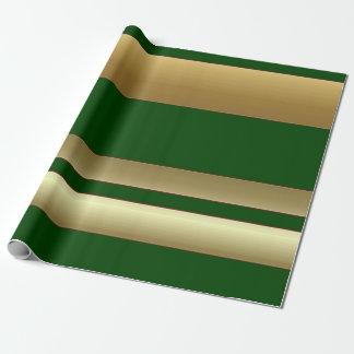 Rayures vertes et papier d'emballage d'or papiers cadeaux noël