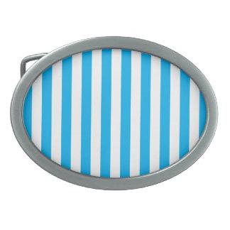Rayures verticales bleues boucles de ceinture ovales