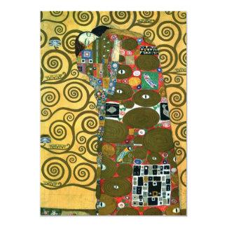 Réalisation (l'étreinte) par Gustav Klimt Carton D'invitation 12,7 Cm X 17,78 Cm