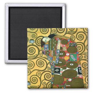 Réalisation (l'étreinte) par Gustav Klimt Magnet Carré