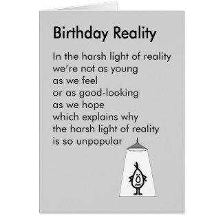 Réalité d'anniversaire - un poème drôle cartes