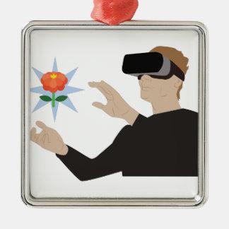 Réalité virtuelle ornement carré argenté
