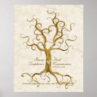 Réception Antiqued par racines d'impression de pou Poster