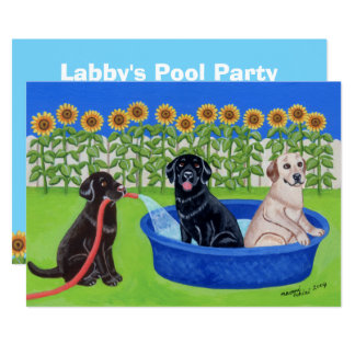 Réception au bord de la piscine drôle Labradors Carton D'invitation 12,7 Cm X 17,78 Cm
