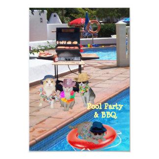 Réception au bord de la piscine et BBQ Carton D'invitation 8,89 Cm X 12,70 Cm