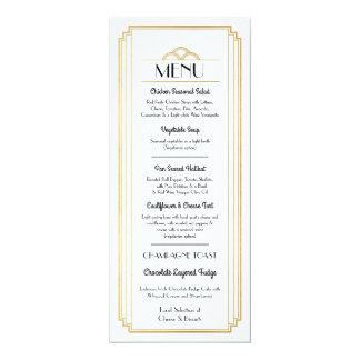 Réception de mariage blanche d'or de menu d'art carton d'invitation  10,16 cm x 23,49 cm