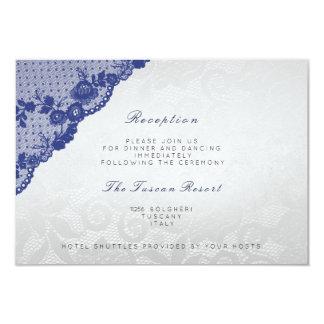 Réception de mariage bleue argentée de la dentelle carton d'invitation 8,89 cm x 12,70 cm