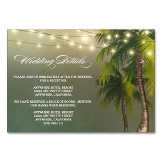 Réception de mariage de palmier de plage + Cartes