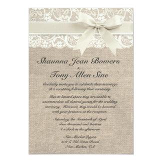 Réception de mariage ene ivoire de toile de jute d carton d'invitation  12,7 cm x 17,78 cm