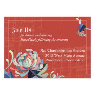 Réception de mariage florale rouge rustique carte de visite grand format