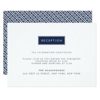Réception de mariage moderne de couleur faite sur carton d'invitation 8,89 cm x 12,70 cm