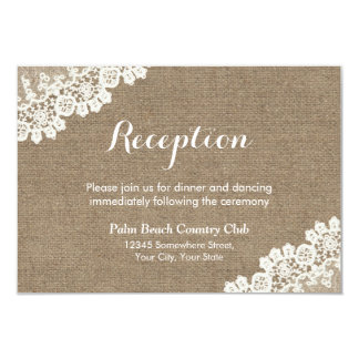 Réception de mariage rustique de dentelle et de carton d'invitation 8,89 cm x 12,70 cm