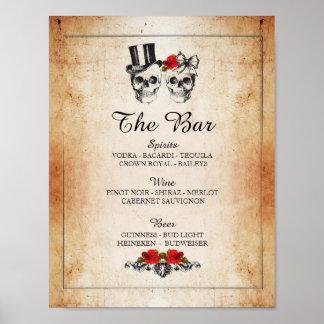 Réception de mariage rustique de signe de poster