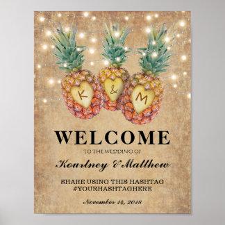Réception de mariage tropicale d'ananas exotique posters