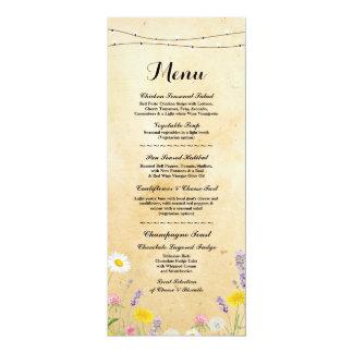 Réception de mariage vintage de menu de fleurs carton d'invitation  10,16 cm x 23,49 cm