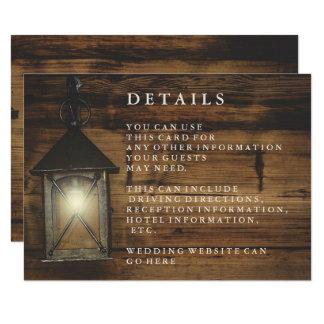 Réception en bois rustique de pays de lanterne carton d'invitation 8,89 cm x 12,70 cm