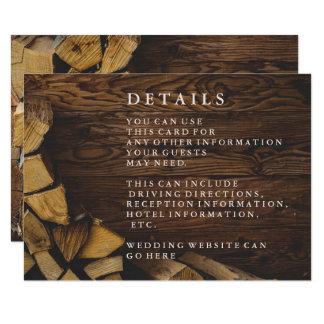 Réception en bois rustique de pays du feu en bois carton d'invitation 8,89 cm x 12,70 cm