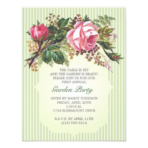Réception en plein air rose de bouquet de cru invitations