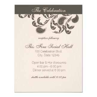 Réception florale de Paisley Carton D'invitation 10,79 Cm X 13,97 Cm